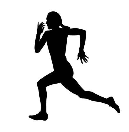 female runner sprinter run black silhouette