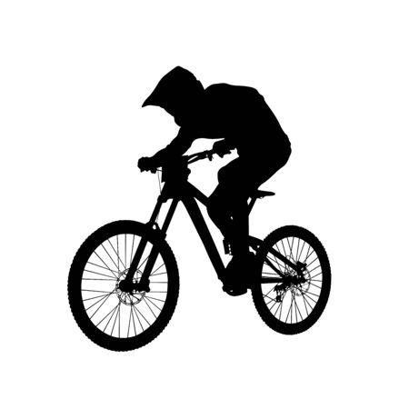 downhill mountain biking athlete rider black silhouette Illustration