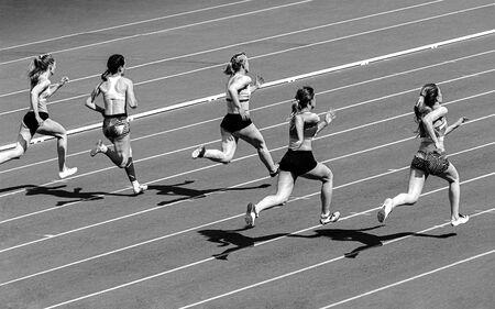 group girls runner athlete run sprint race black and white photo