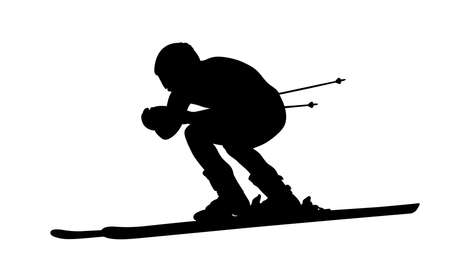 black silhouette man athlete alpine skier on white background