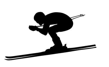 alpine skiing black silhouette man athlete skier