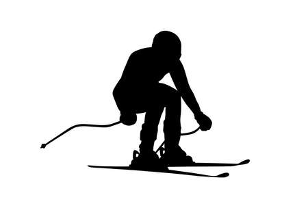 slalom giant black silhouette of man athlete skier