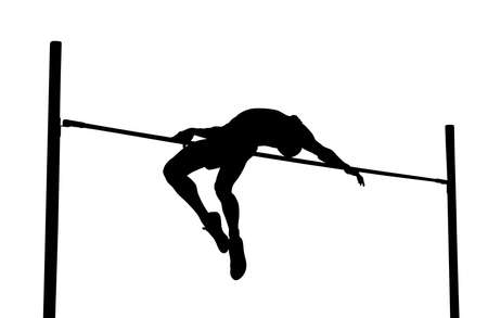 high jump is track and field event. man athlete black silhouette