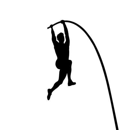 pole vault is track and field event. man athlete black silhouette Vektorové ilustrace