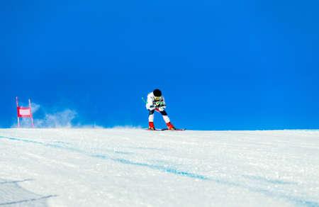 alpine skiing race in on track of giant slalom