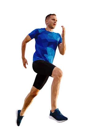 middle aged man runner athlete run. polygonal vector