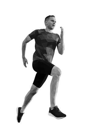 man runner athlete run. shade of gray polygonal vector