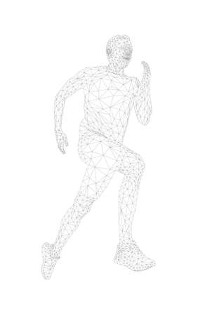man runner athlete run. polygon wireframe vector Illustration
