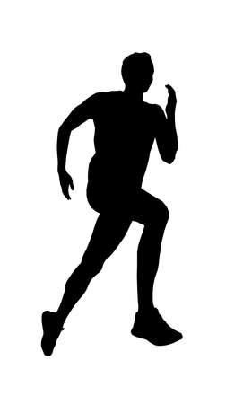 man runner athlete running black silhouette vector Illustration