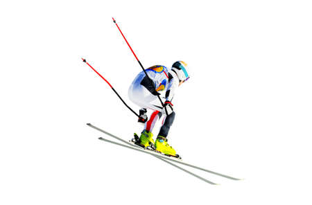 man athlete alpine skier silhouette isolated on white background Banque d'images