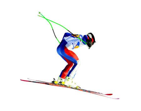 man athlete skier in alpine skiing isolated on white background