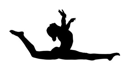 girl gymnast athlete doing split leap black silhouette