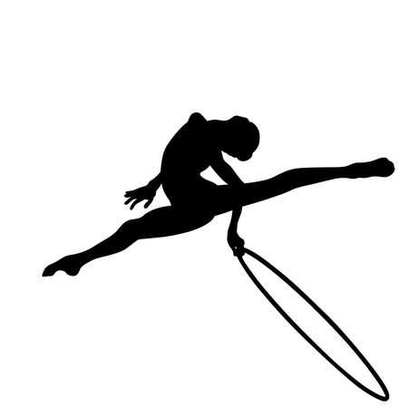 artistic gymnastics girl with hoop black silhouette