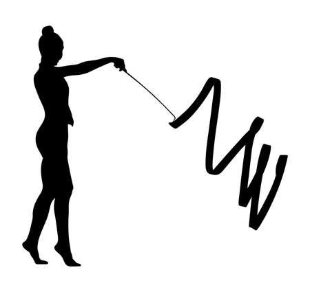 artistic gymnastics girl with ribbon black silhouette Illustration