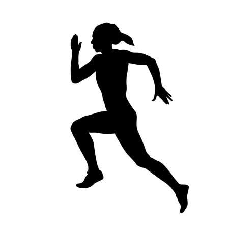Young woman sprinter runner run black silhouette