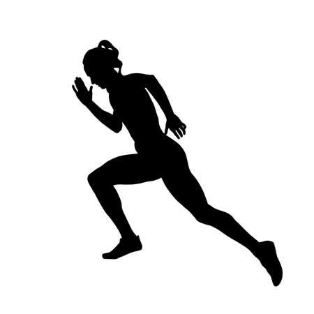 girl sprinter runner running black silhouette