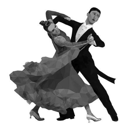 dancing couple in black and white. polygonal vector image