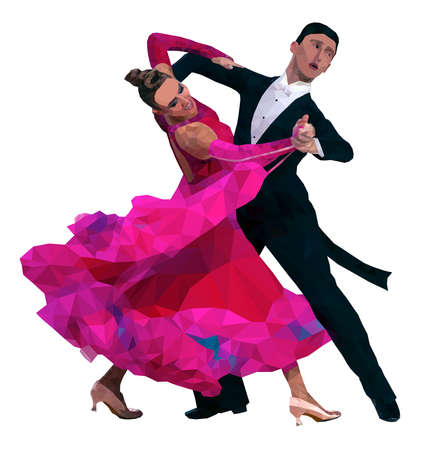 dancing couple in color image. polygonal vector