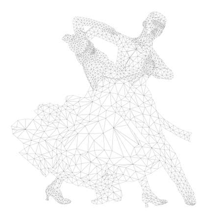 dancing couple athlete in polygon wireframe vector Illustration