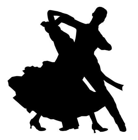 dancing couple athlete in black silhouette image