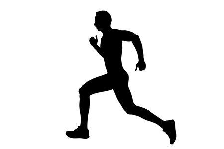 black silhouette male runner running on white background