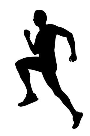 black silhouette male runner athlete running on white background