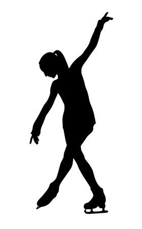 girl figure skater black silhouette on white background Vecteurs