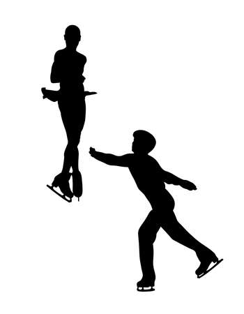 pair young figure skaters black silhouette. element thrown