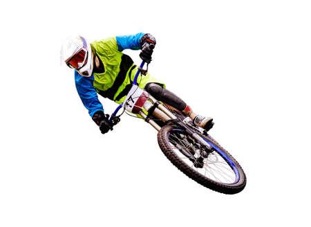 downhill athlete biker ride isolated on white background
