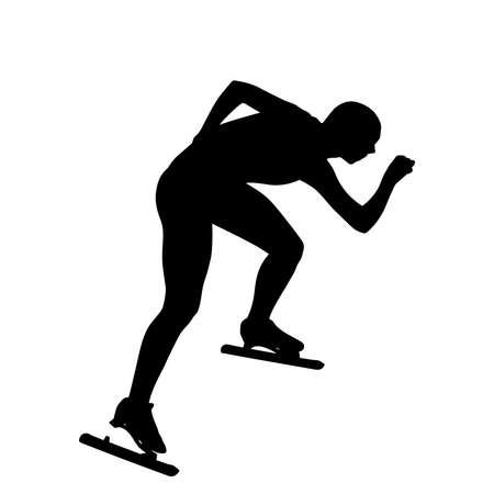 male speed skater athlete black silhouette on white background Illustration
