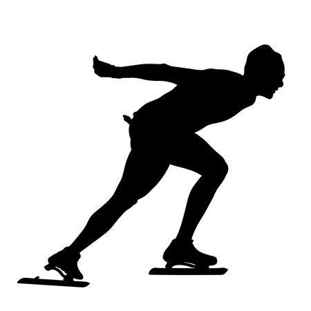 speedskater athlete black silhouette on white background
