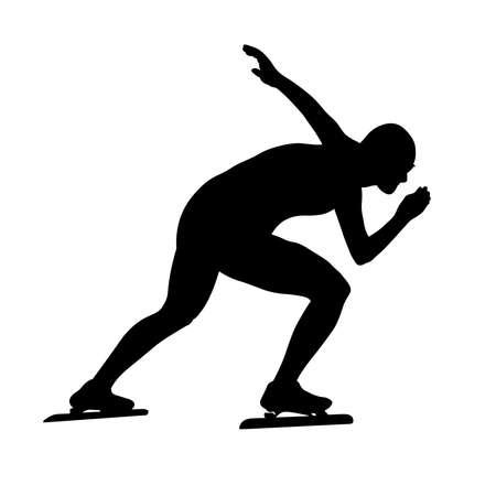male speed skater athlete black silhouette in sports race Illustration