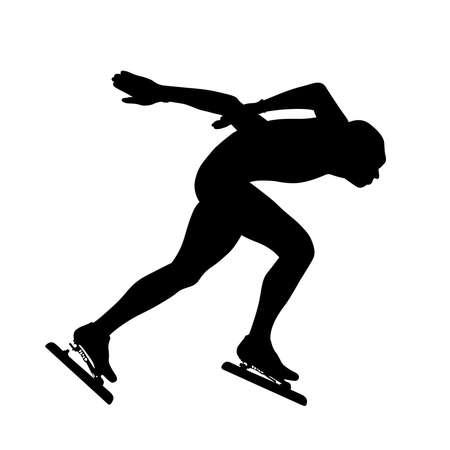 male speed skater athlete black silhouette running arena turn