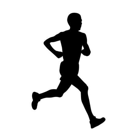 male athlete runner run black silhouette on white background Illustration