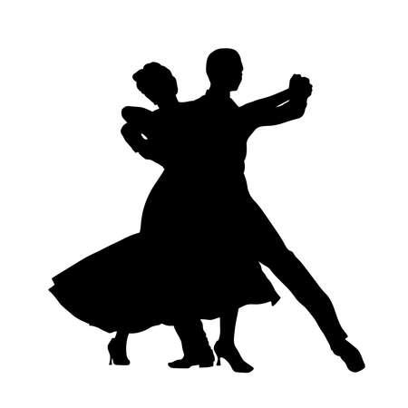 ballroom dance couple man and woman black silhouette Illustration