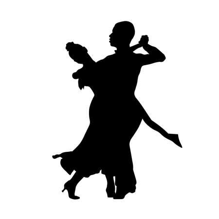 ballroom dance couple black silhouette on white background Illustration