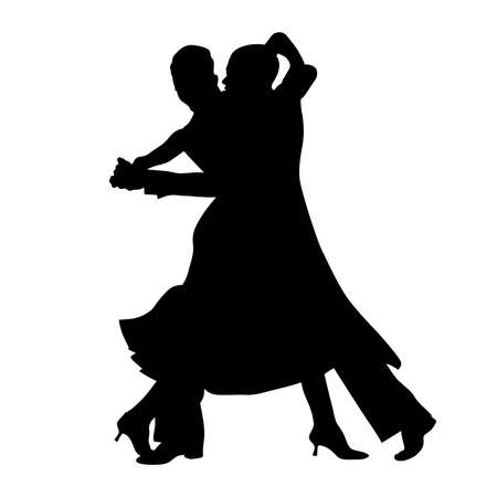 ballroom dance couple black silhouette on white background