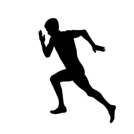 male athlete starting running in race black silhouette