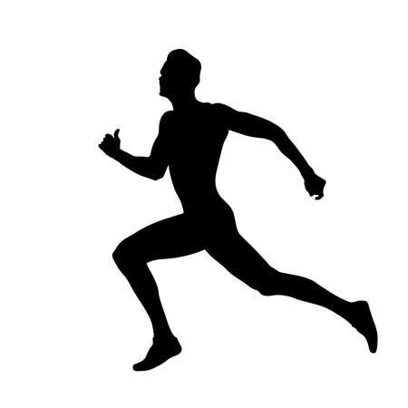 male athlete runner run race at finish line black silhouette Vetores