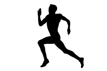 male athlete leader run sprint race black silhouette Illustration