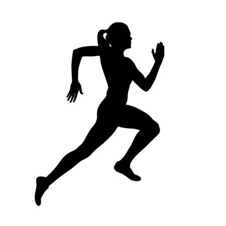 girl athlete runner run sprint race black silhouette