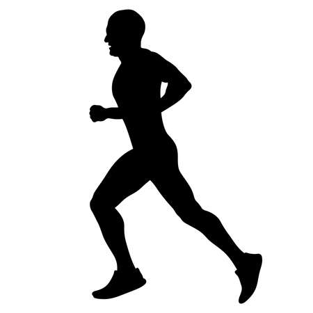 male runner running marathon black silhouette