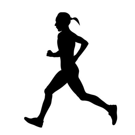 female runner running marathon black silhouette Vector Illustration