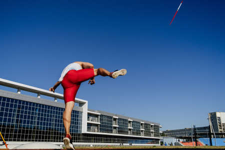 male thrower athlete javelin throw for competition