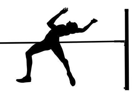 high jump male athlete black silhouette Ilustracja