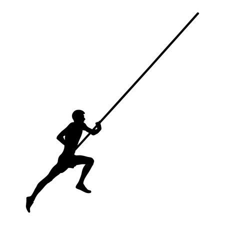 pole vault male athlete running pole black silhouette
