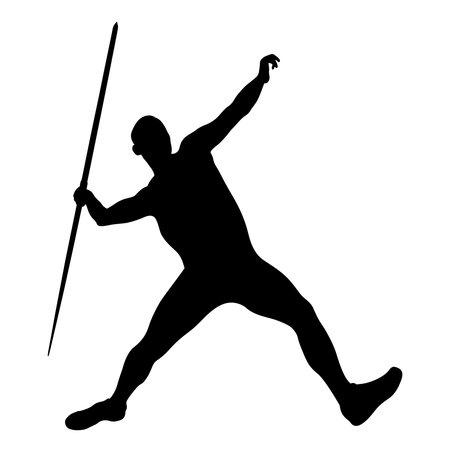 javelin throw male athlete black silhouette