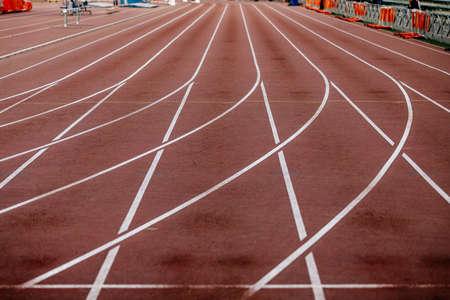 red running track of stadium Zdjęcie Seryjne