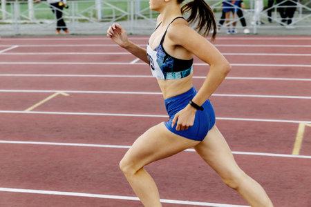 leader girl runner run middle distance race