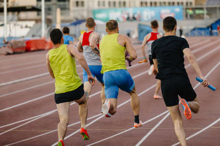 group men relay race for track and field competition Zdjęcie Seryjne
